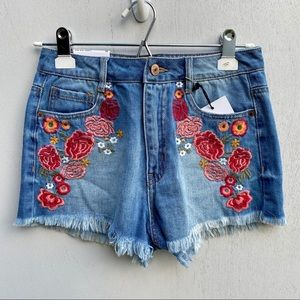 Forever21 High Rise Embroidered Jean Flower Shorts